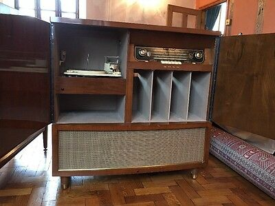 Bush Radiogram and Garrard Vintage Record Player Cabinet