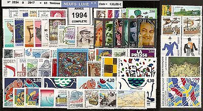 FRANCE Année COMPLETE 1994 - NEUF ** LUXE - 61 Timbres