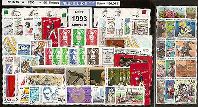 FRANCE Année COMPLETE 1993 - NEUF ** LUXE - 66 Timbres
