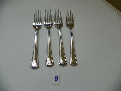 Set Of 4  Reed & Barton Palladian 18/10 Salad Forks Stainless  Flatware