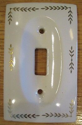 VINTAGE 1950s WHITE PORCELAIN w GOLD LEAF VINES LIGHT SWITCH PLATE COVER JAPAN