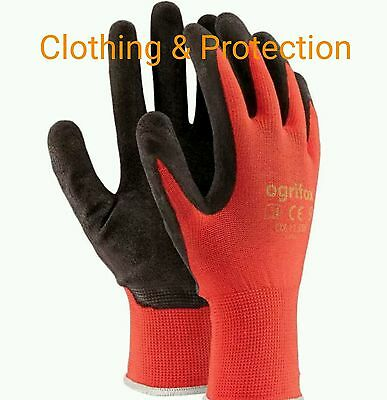 12 Pairs Of New Red Latex Coated Nylon Work Gloves Safety Garden Grip Builders