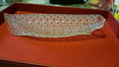 Antique Victorian Grace Darling Daisy Button Pressed Glass Rowing Boat Large 11""
