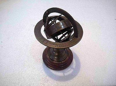 Antique Brass Armillary Globe Vintage Collectible Table Top Decorative