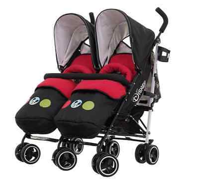 Obaby Twin Stroller Buggy Pushchair Disney Double Mickey mouse with footmuffs