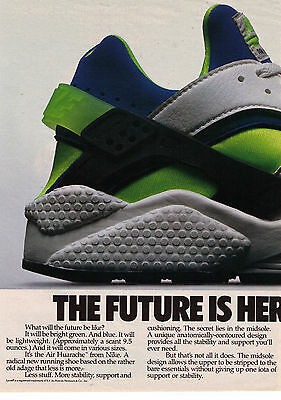 "1991 Nike ""Air Huarache"" ""The Future Is Here"" Vintage Shoe Print Advertisement"
