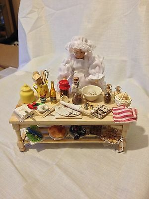 12th scale doll house cook with christmas kitchen table