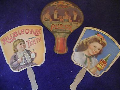 Hand Fan Church Fan Rc Cola Shirley Temple Pur-Ox Syrup Reproduction (Three)