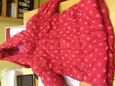 Girls Red+Pink Dots Coat Age 7/8 Years