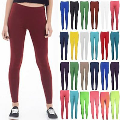 Ladies Leggings Womens Jegging Basic Plain Elastic Waist Jersey Trousers Pants