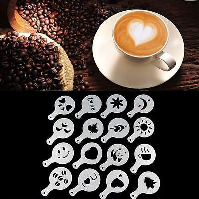 16pcs Chocolate Shaker Coffee Art Latte Art Coffee Decorating Molds Tool