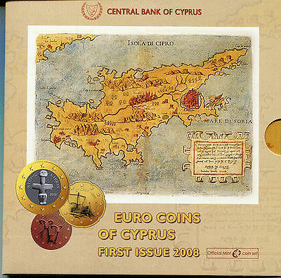 Chipre Cartera Euro Coin Set 2008 Official Issue