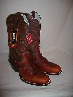 Beautiful New Ariat Legend Brown Small Square Toe Leather Western Boots Size 10B