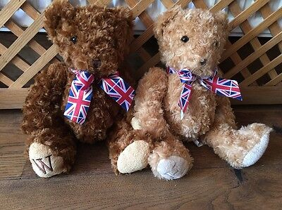 WH Smith Royal William And Harry Teddy Bears Union Jack Soft Toys Plush British