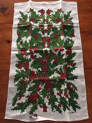 Vintage KayDee Handprint Marge French Holly Christmas Towel Linen still has tag