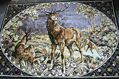 "Fabulous Vintage 60's Large Wall Hanging ""Family of Deers in Woodland Glade""."