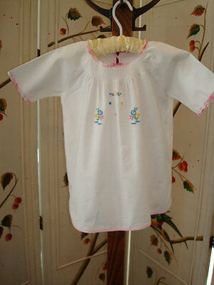 Vintage Infant, Baby, Doll Gown - Hand Embroidered - Pink Trim - Circa 1950's