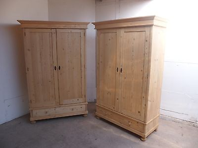 A Top Quality Antique Pine Knockdown Matching Pair of Wardrobes to Paint/Wax