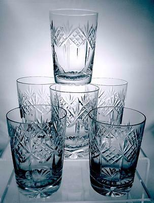 Six Quality Crystal Cut Glass Whisky Glasses For The Christmas Party Great Gift