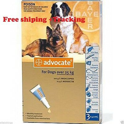 Advocate for Large Dogs over 25  Kg  3 Pipettes , Free Shipping