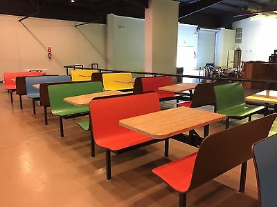 Plymold Restaurant/cafe dining booth table attached seat/seating for pizzaria