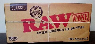 RAW Classic 98 special Size Pre-Rolled Cones~1400 Pack~ Free Doob Tube