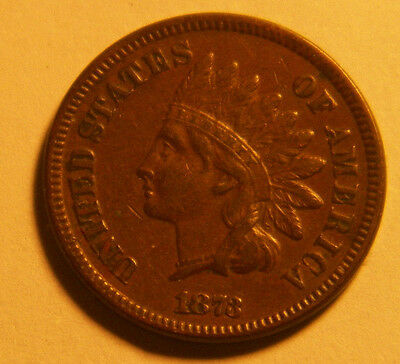 1873 Indian Head Penny Closed 3 Better Date Nice Coin