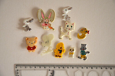 vintage pins badges animals bunny duck cat lot
