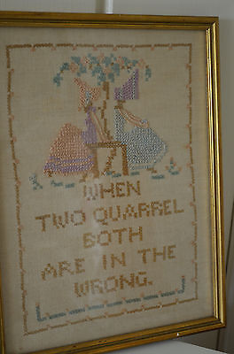 Beautiful old Vintage Antique Needlework Sampler - Friendship  - Shabby Chic