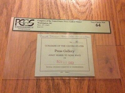 1963 President Lyndon Johnson Address After John F. Kennedy Assassination PCGS