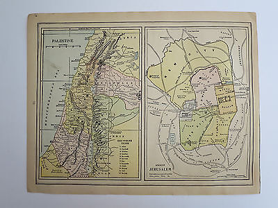 Original Antique 1899 Atlas Map Of Palestine & Jerusalem/ Asia, Very Good