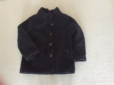 Adorable girls IKKS black teddy bear coat Age 8 VGC