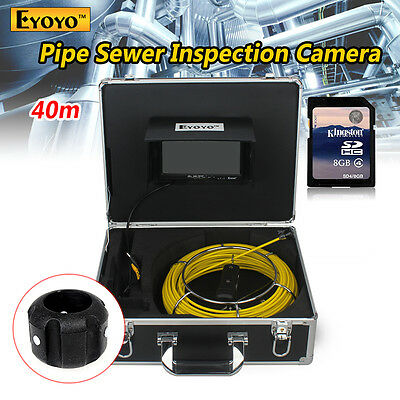 """40M 7"""" Drain Pipe Pipeline Inspection Sewer Video Camera DVR Recorder White LED"""