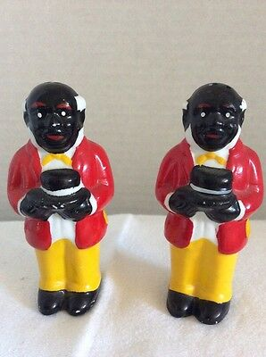 Vintage Colorful Pair of Uncle Moses Style Salt & Pepper Shakers- Rare Find