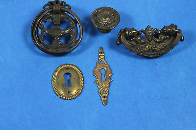 lot of 5 Antique - vintage - draw pulls and  escutcheons -  FREE SHIPPING
