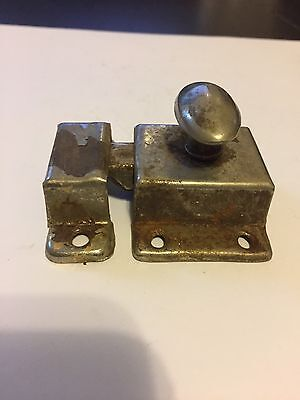 Old Shabby Chippy Chic Paint Chrome Primative Cabinet Cupboard Door Latch Lock