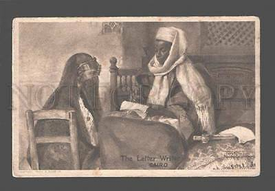 080771 EGYPT Letter Writer Cairo woman in yashmak Vintage PC