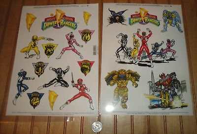 Lot 2 Different Sets 1994 Power Rangers Window Cling Reuseable Decal Sheets NIP