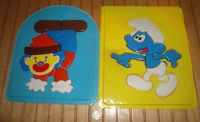 Vintage Clown and Smurfs Plastic 3D Tray Puzzles