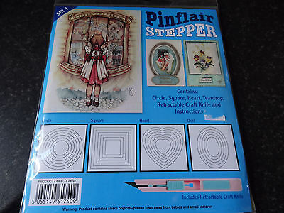 Pinflair Stepper Cutting Templates with cutting knife (circle square heart oval)