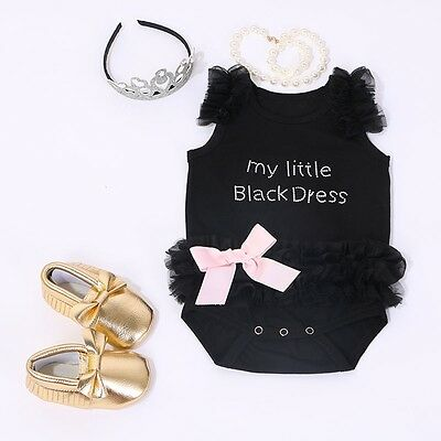Cute Newborn Baby Girls Embroidered Lace Little Black Dress Bodysuit