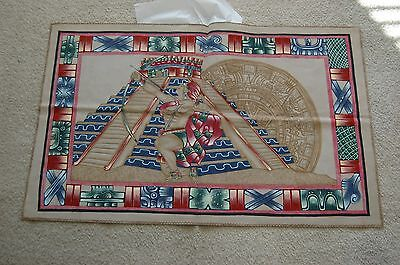 """Pure Leather Tapestry """"aztec Calendar With Eagle Warrior"""" 27X44.5 Inches"""