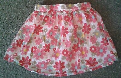 NEXT girls skirt age 4 - 5 years 4-5 white pink red flowers floral lined skater