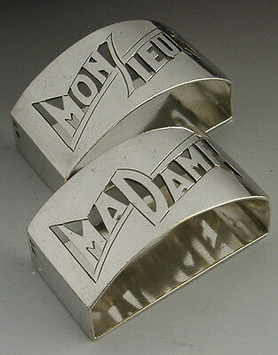 ART DECO FRENCH SILVER PLATE MADAME MONSIEUR NAPKIN RINGS c1920-40 ANTIQUE