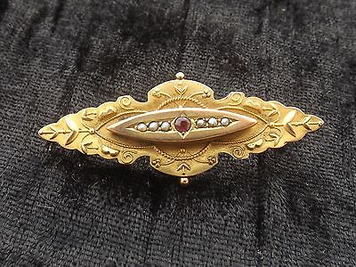 Vintage or Antique Gold Brooch with Ruby and pearl 9ct