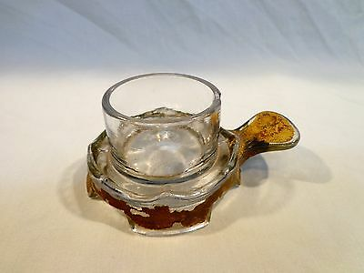 unusual VINTAGE GLASS candle holder w,THUMB TAB & FEET !!