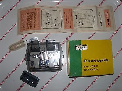 VINTAGE PHOTOPIA CINE FILM SPLICER 8mm & 16mm Boxed with instructions