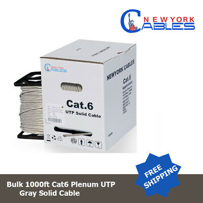 Cat 6 Plenum 1000 ft Solid Networking Cable Gray C728P