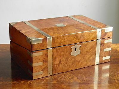 Antique Burr Walnut and Brass Bound Writing Slope