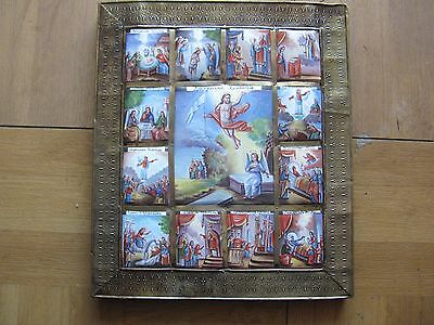 Antique Russian Enamel Icon Resuraction Of Christ With Scene Of The Life